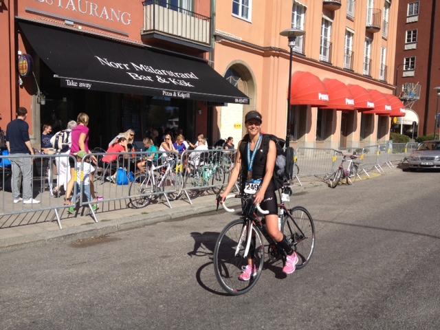 En mycket entusiastisk nybörjare efter Stockholm triathlon 2013. Det loppet kommer jag aldrig glömma.