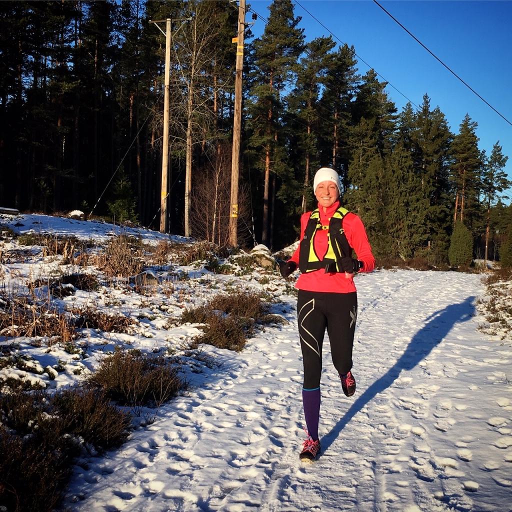 Löpning i Stolpaskogen i Täby.